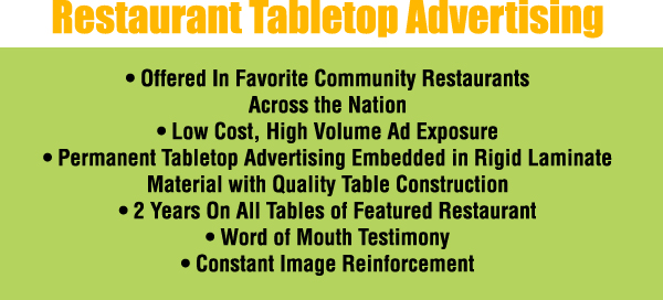 Evergreen Promotions Restaurant Tabletop Advertising - Restaurant table advertising